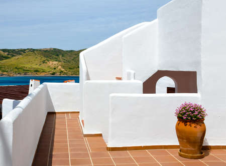 Typical white painted houses of Menorca. Balearic Islands Standard-Bild