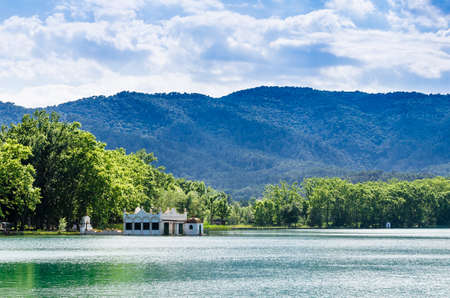 Beautiful views of Lake Banyoles (Banyoles) with the old white summer houses. Girona, Catalonia
