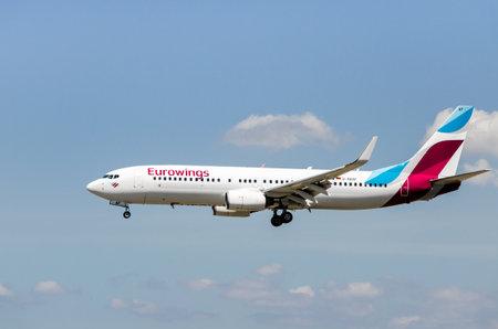 Barcelona, Spain; April 27, 2019: Boeing 737 airplane of Eurowings airline, landing at Josep Tarradellas airport in Barcelona-El Prat