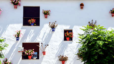 Typical Andalusian white facade, with hanging polka dot pots. Andalusian Town, Cadiz Standard-Bild