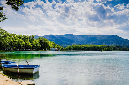 Views of Lake Banyoles with the old fishing houses