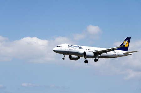 Barcelona, Spain; April 27, 2019: Lufthansa airline Airbus A320 plane landing at Josep Tarradellas Barcelona-El Prat airport