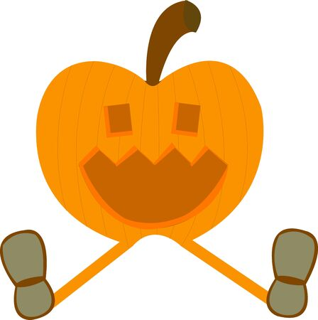 Smiling pumpkin wearing shoes Stock Vector - 10362566