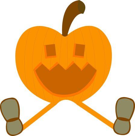 Smiling pumpkin wearing shoes Stock Vector - 10362566