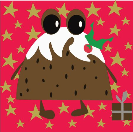 Cute Christmas Pudding with gift Stock Vector - 10563004