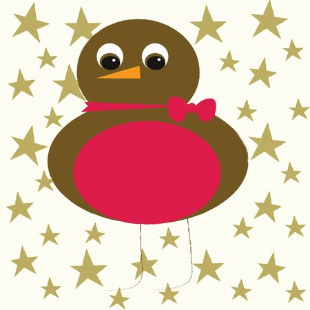 Christmas Robin with red bow Stock Vector - 10563002