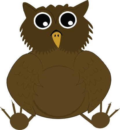 Brown Owl with big eyes Illustration