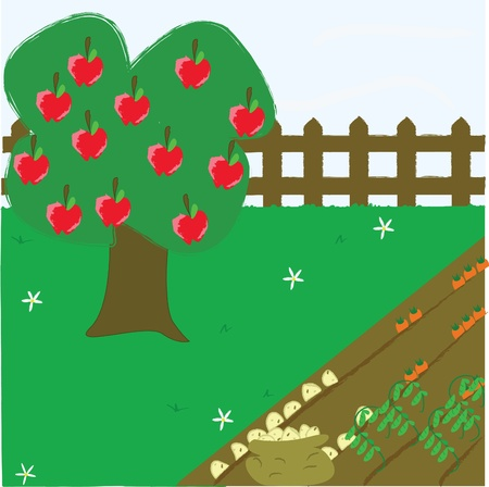 Garden Allotment with apple tree Stock Vector - 10710323