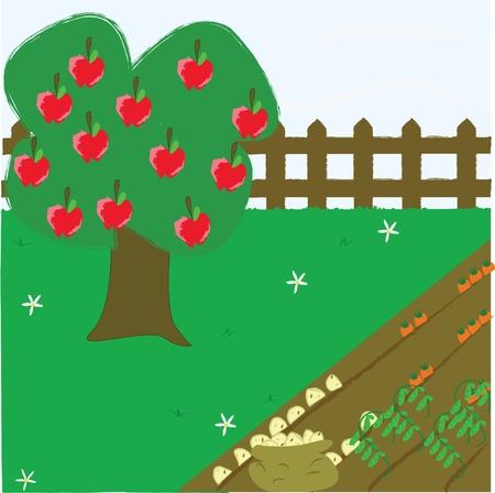 Garden Allotment with apple tree Stock Vector - 10710323