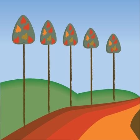 Autumn Woodland Scene Stock Vector - 10710334