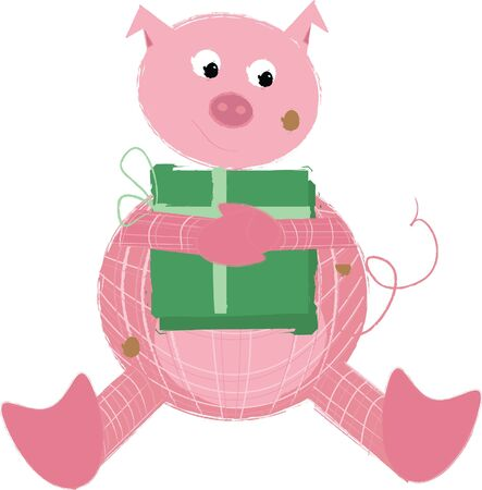 trotters: Cute Pig with present Illustration