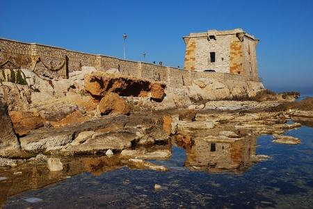 spaniards: Trapani  Sicily  Ligny tower Editorial