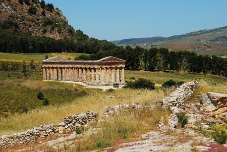 slut: The Doric temple of Segesta Stock Photo