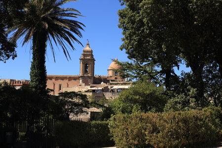 foreshortening: Erice (Sicily), foreshortening of the town with a bell tower