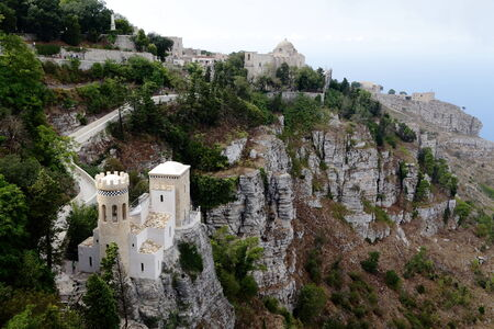Erice (Sicily),  view with Pepoli tower and the Venus Castle