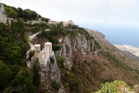 Erice (Sicily) - panorama with a view of the Venus Castle and pepoli tower Editorial