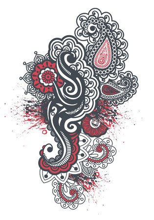 Indian pattern tatoo paint floral ornament Vector