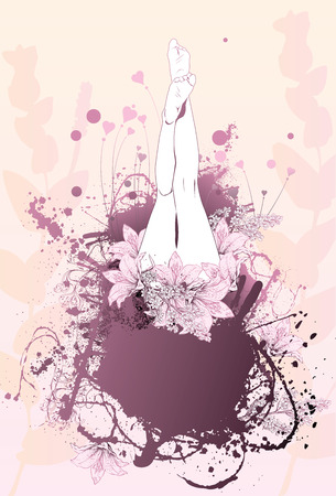 The illustration shows the womans legs in the flowers and hearts, with a background in the form of sprays and drops of paint. It is well suited for body care cabin for Advertising cream for the feet and medicines. Vector