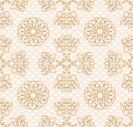 flowerses: flowerses and plants background. This pattern can be folded and it continues to fill in your space! Illustration