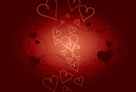 curlicues: Valentines Day background. Curlicues on background heart