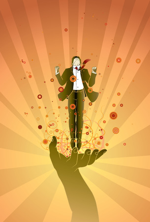 gravitational field: Businessman on magic hand fly jump emotion