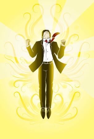 gravitational field: Businessman jump flight emotions victory Illustration