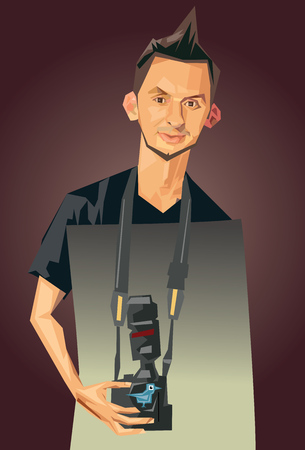 jest: Caricature photographer and birdie fun camera