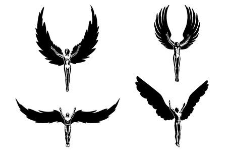 diablo y angel: Cuatro �ngeles Religi�n s�mbolo vuelo Vectores