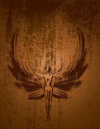 Angel on grunge background religion human praying Illustration