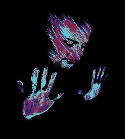 abandono: Cara y manos de pintura artista caliente termogr�fica. Vectores