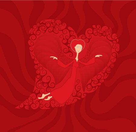 Love goes cupid heart angel