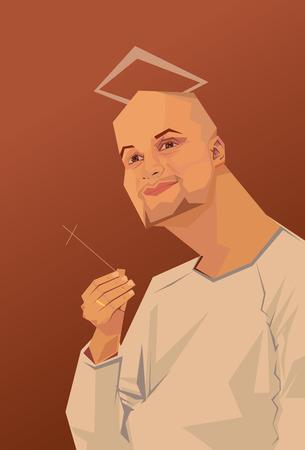 nimbus: Men Saints caricature religion sumor praying nimbus Illustration