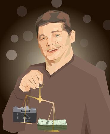 jest: uomo stilizzato fotocamera soldi caricatura