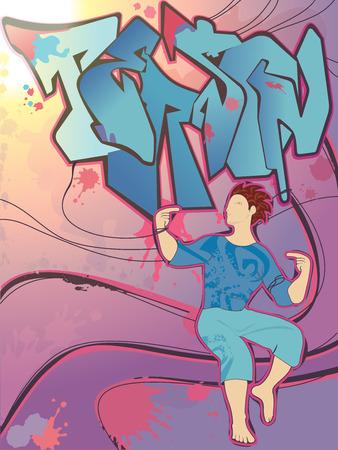 Graffiti young men person music graphic Vector
