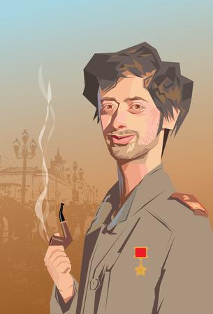 travesty: portrait man caricature military russian smoking