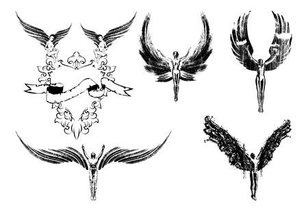 Sechs Engel Religion Menschen, Symbol, Zeichen fliegen Standard-Bild - 28246231