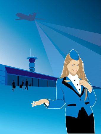 Beautiful girl stewardess offers travel by plane pointing to the airport. Over the airport the plane takes off Vector
