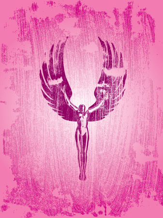 bosom: tears angel on grunge background Fly