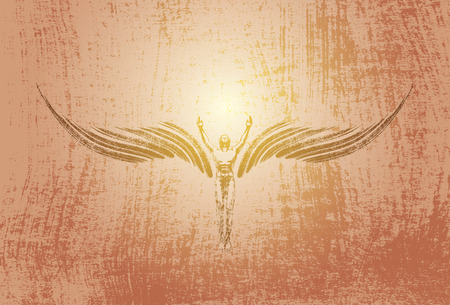 bosom: flying angel on grunge background freedom
