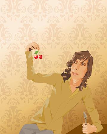 jest: Giovane uomo mangiare ciliegie e perdere la carne Vettoriali