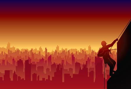 alpinism: Industrial alpinism  limbing city Illustration