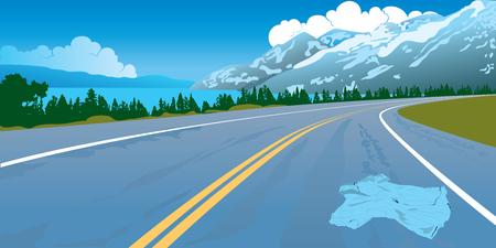 entrada da garagem: Paisagem da estrada em que a camisa perdeu estabelece montanhas madeira nuvens