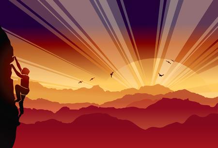 alpinist background climber sun rise landscape