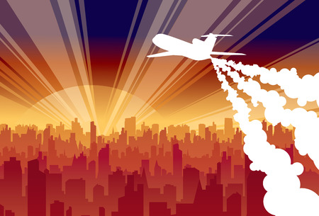 Plane on background rising sun and city Vector