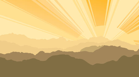 mountaintop: Landscape  Mountains, ascending or a sitting down sun Illustration