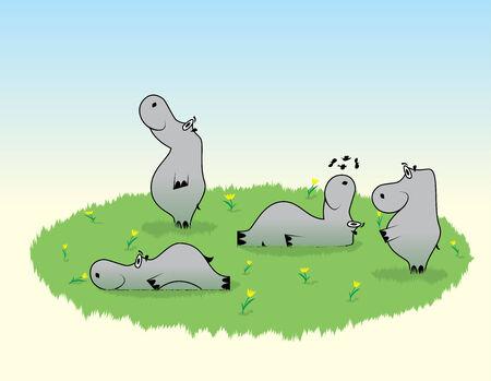 snuffelen: Nice nijlpaarden op glade met bloemen en kruiden lopen rust snuiven de bloem en droom Stock Illustratie