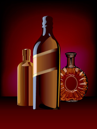 cognac: Strong drink alcohol bottle cognac whisky vodka Illustration