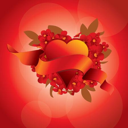 flowerses: Flowerses on background heart and ribbon Illustration