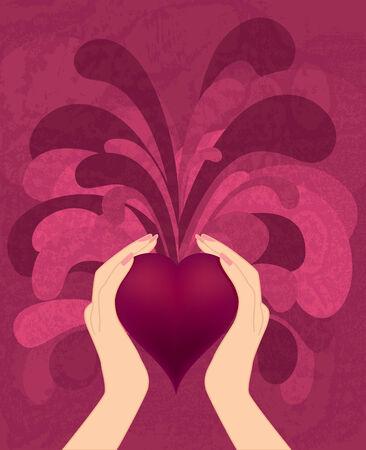 hintergrund liebe: Herz in den H�nden Hintergrund Liebessymbol Illustration