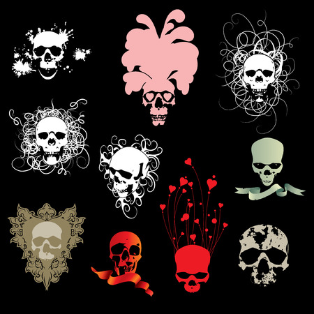 Skull collection dead body halloween Vector